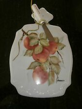 Porcelain Apples Cheese Board Cutter Knife  Hand Painted ARTS CRAFTS USA