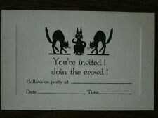 Vintage Halloween Invitation UNUSED 1920 - 1930's Scary Black Cat Cats Spooky A9