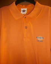 HARD ROCK *LAS VEGAS* HOTEL ORANGE COTTON PIQUE SS POLO SHIRT - MENS M