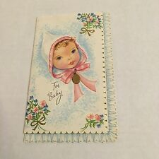 Vintage Greeting Card Baby Congrats Girl Charm Medal