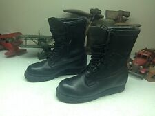BLACK WELLCO DISTRESSED USA MILITARY LACE UP ENGINEER WORK BOSS BOOTS 9.5 W