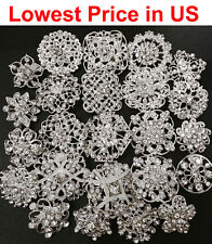 24 pcs lot Mixed Alloy Sliver Rhinestone Crystal Brooches Pin DIY Wedding Bouque