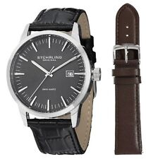 Stuhrling Original 555A 02 Men's Classic Ascot II  Swiss Quartz Grey Dial Watch