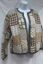 Talbots chunky patchwork cable knit cardigan brn geometric sweater wool PM MINT