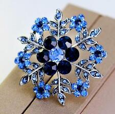 Charm Women Xmas Snowflake Brooch Rhinestone Crystal Diamante Silver Broach Pin