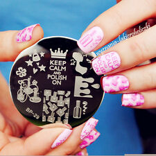 BORN PRETTY Nail Art Stamping Plate Beauty Theme Image Stamp Template 5.5cm #29