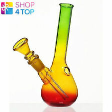 SMALL GLASS WATER SMOKING BONG RASTA COLORED TOBACCO PIPE 14 CM NEW