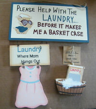 Retro Country Laundry Mom Hangs Out Help b/4 I'm basket case shelf sitter sign