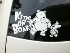 KIDS ON BOARD VINYL DECAL STICKER CAR WINDOW WINNIE THE POOH PIGLET FAMILY BABY