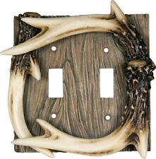 6 Pack: Faux Deer Antler Double Light Switch Plate Cover Western Rustic Lodge