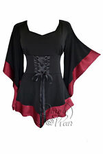 Gothic Treasure Kimono Sleeve Corset Top Black Burgundy Red Plus Size 2X
