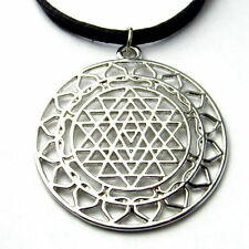 Sri Yantra Meditation Pendants Necklace Large Round Meditation Charm Choker