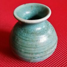 Collectible Bluegreen Tiny Hand Thrown Ceramic Ball Vase Pot Stoneware Japan