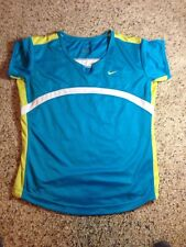 WOMENS NIKE DRI FIT Running Work Out T SHIRT S Small Blue Led