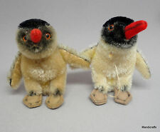 Steiff Peggy Penguin x 2 Mohair Plush 10cm 4in 1960s Glass Eyes Vintage no ID