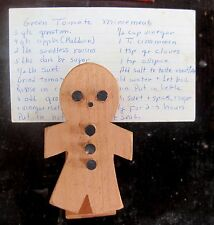 Hand Made Wooden Gingerbread Man Recipe Clip Wholesale Lot of 10