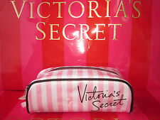 Nwt Victoria's Secret VS Signature Pink Stripe Cosmetic Makeup Case Zip Tote