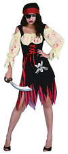 PIRATE ZOMBIE WENCH COSTUME FOR FANCY DRESS ADULT WOMEN ONE SIZE