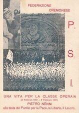 A4168) CREMONA 9/2/51, FEDERAZIONE CREMONESE P.S.I., AUGURI A PIETRO NENNI. VG.