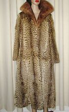 VINTAGE SUPERBE EXTRA WIDE  SWING  SPOTTED/ PASTEL MINK COLLAR FUR COAT SZ SMALL