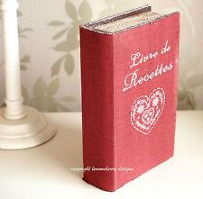 Shabby Vintage Style Trinket Red Book Box Storage Box Photo Recipe Book Box