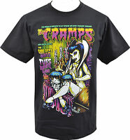 MENS BLACK T-SHIRT CRAMPS PUNK PSYCHOBILLY HORROR POSTER GARAGE LUX  S - 5XL