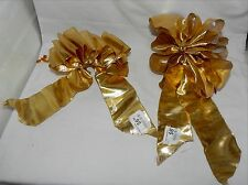 """Big Wedding Glitter Bows Michaels Stores 12"""" by 6"""" Solid Gold Glitter Trim 11C"""