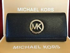 NWT MICHAEL MICHAEL KORS LEATHER FULTON FLAP CONTINENTAL WALLET IN BLACK
