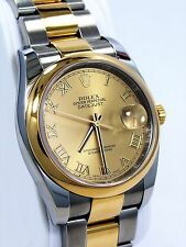 Rolex Datejust 116203 Two Tone 18K Yellow Gold & SS Champagne Roman Dial *MINT*