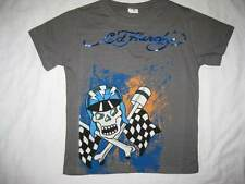 ED HARDY boys kids skull racer 5 6 gray t-shirt tee short sleeved top cotton NEW