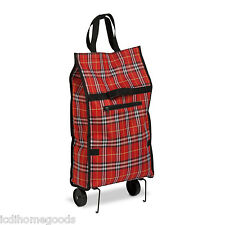 Rolling Fabric Fold up bag cart in Plaid #CRT-02224