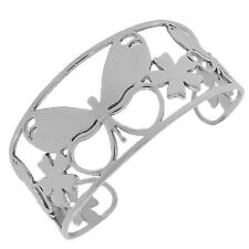 Stainless Steel Silver Butterfly Floral Open End Womens Cuff Bracelet