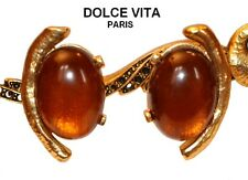 FRENCH SIGNED DOLCE VITA TEXTURED GOLD AND RUST GLASS CABS CLIP ON EARRINGS