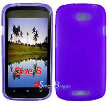 New Premium PURPLE Soft Gel TPU Cover Case For HTC One S + Screen Protector