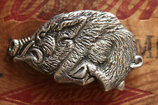 Vintage Hand Made Sterling Silver Cast Hog Bikers Belt Buckle