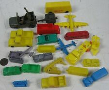 21 Vintage 1960's Soft Plastic Trolley Jeep Trucks and More