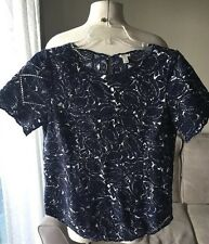J. Crew Embroidered Top Short Sleeve Navy White Lace Small Print S 100% Cotton