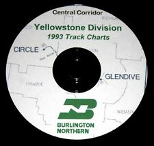 Burlington Northern 1993 Yellowstone Division Track Charts PDF Pages on DVD