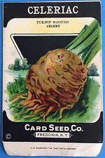 *Original* CELERIAC Turnip Root Celery CARD SEED Packet Pack 1920's Fredonia NY