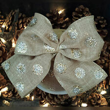 Wired Gold & Silver Glitter Spot Christmas Ribbon. Light Brown. Tree, Jute, Cake