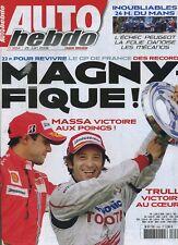AUTO HEBDO n°1654 du 25 Juin 2008 GP FRANCE 24h du MANS avec PEUGEOT