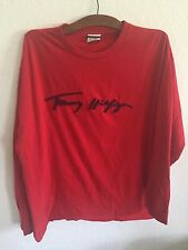 Rare Vtg Men's 3D Tommy Hilfiger RED Long Sleeve Cursive Spell Out T Shirt Sz LG
