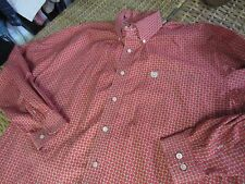 Mens Medium M CINCH RED link chain box pattern Button front Western SHIRT used