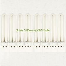 2 Set/ 8pcs Pack 9W 365nm UV Light Bulb Tube Replacement CND Shellac Lamp 8 pk
