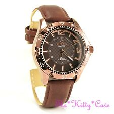 Swiss OMAX, Waterproof Chunky Bronze Brown Steel Seiko Movt Leather Watch OAS185