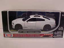 2011 Dodge Charger Pursuit Die-cast Police Car 1:24 Unmarked 8 inch ALL White