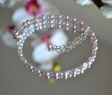 Champagne Pearl and Shiny Fire Polished Crystal Bead Ankle Bracelet 7 to 8 Inch