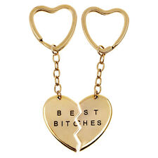"""2 Part """"Best Bitches"""" Gold Plated Broken Heart Pendant Keychain Key Ring"""