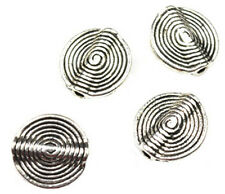 12 ANTIQUE SILVER PLATED SPIRAL RIDGE COIN BEADS 15MM