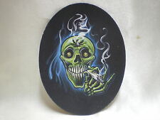 Leather Patch 420 Weed Skull For Biker Leather Jackets & Vests Made In The U.S.A